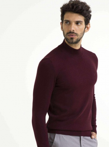Pierre Cardin Bordo Slim Fit Basic Triko Kazak